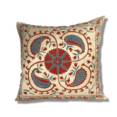 Authentic Suzani silk hand embroidery cushion cover - red & blue (SU94)