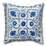 Silk Suzani cushion cover, Blue Hearts 50 x 50 cm (SU29)