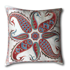 Authentic Suzani Silk Hand Embroidery cushion cover- Red and Green- 48 x 48 cm
