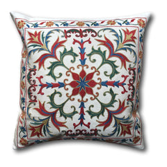 Authentic Suzani Silk Hand Embroidery cushion cover- Red and Blue - 48 x 48 cm