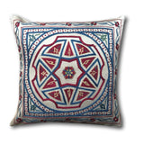 Authentic Suzani Silk Hand Embroidery cushion cover- Red Blue Star- 48 x 48 cm