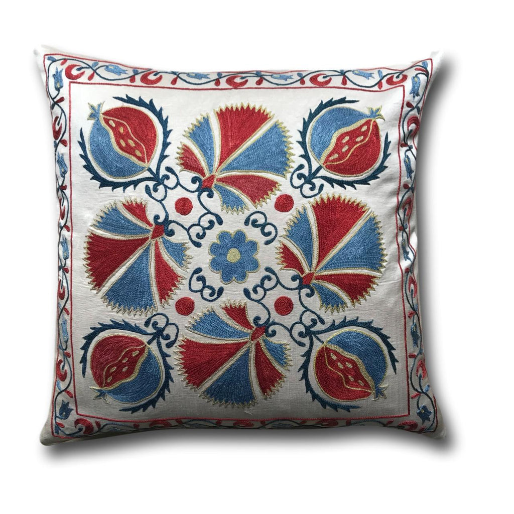 Authentic Suzani Silk Hand Embroidery cushion cover- Red Blue Carnation- 48 x 48 cm
