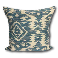 Cushion cover - Teal Blue Tribal Pattern -  50 x 50 cm