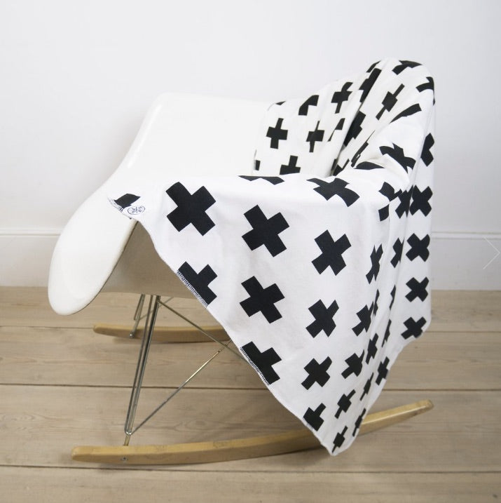 White Cross Print Cotton Blanket