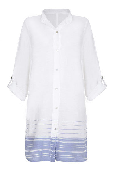 Front Cotton Beach Shirt Dress with blue stripes from my little wish