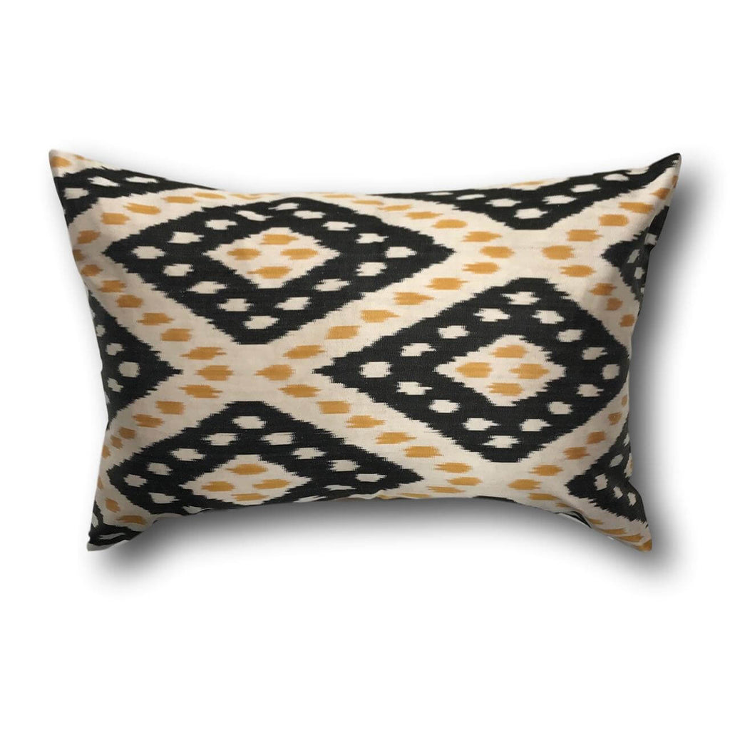 IKAT cushion cover - Black and Yellow - 40 x 60 cm