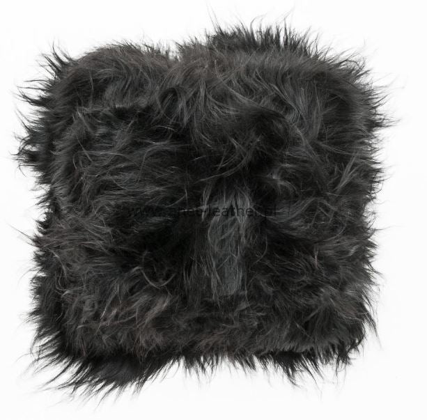Sheepskin Cushion - Icelandic Long Wool - Natural Black
