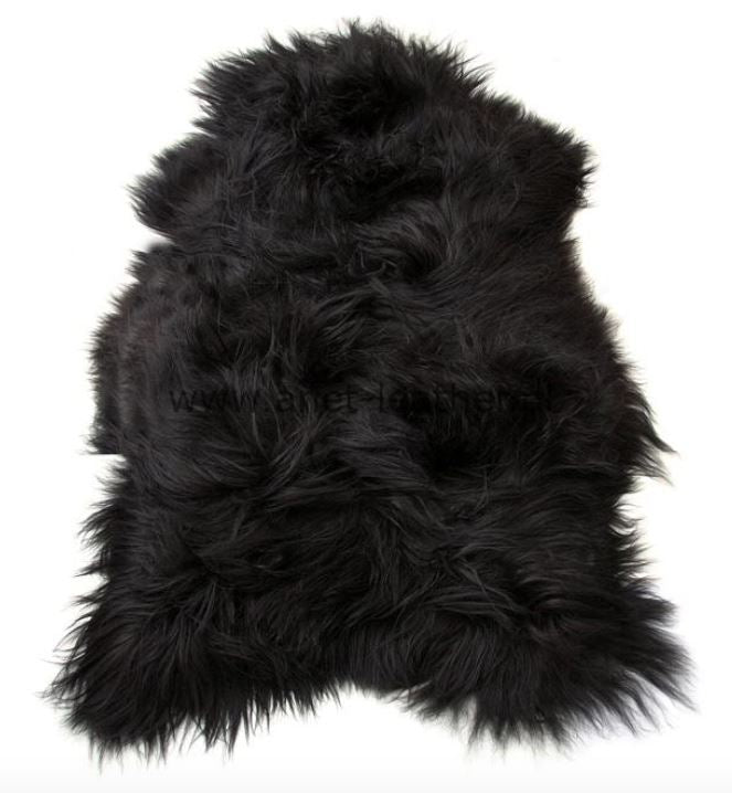 Icelandic Long Wool Sheepskin Rug - Natural Black