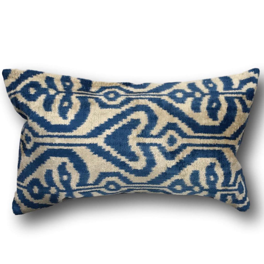 IKAT cushion cover - Royal Blue - Velvet -  40 x 60 cm