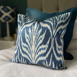 IKAT cushion cover - Navy Blue Leaves - 40 x 40 cm