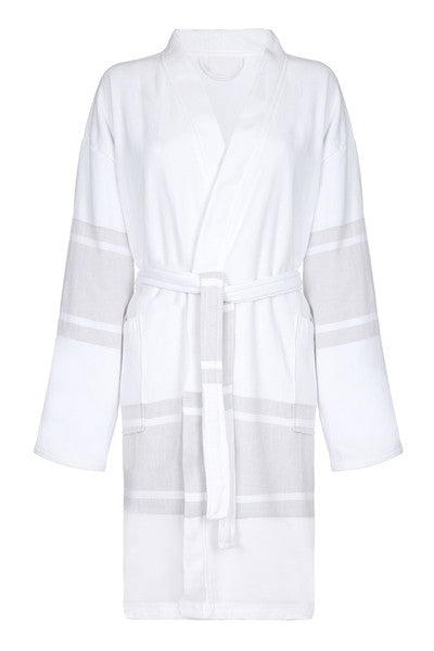 Front Short Lightweight Unisex Cotton Robe with Beige stripe from my little wish