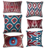 IKAT cushion cover - Blue and Red Diamonds 50 x 50 cm