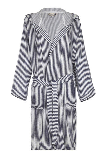 Front Hooded Unisex Linen Robe with Navy stripes from my little wish