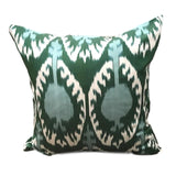 IKAT cushion cover -Green and Blue Pom 50 x 50 cm