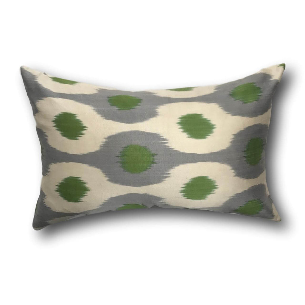 IKAT cushion cover - Green and Grey Dots - 40 x 60 cm