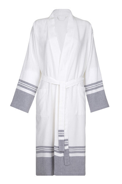 9b7b433992 Front Lightweight Unisex Cotton Robe with Grey stripe from my little wish
