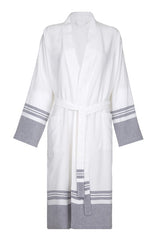 Front Lightweight Unisex Cotton Robe with Grey stripe from my little wish