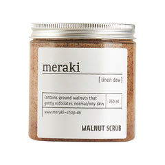 Meraki walnut scrub with linen dew scent