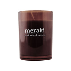 Meraki scented candle with a sandcastle and sunsets scent - mkap031