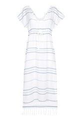 Front Maxi Cotton Beach Dress with blue stripes from my little wish