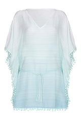 Front Pompom Beach Kaftan in turquoise from my little wish