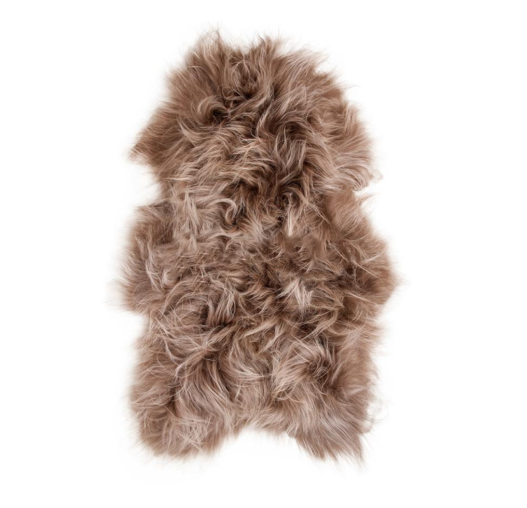 Icelandic Long Wool Sheepskin Rug - Taupe