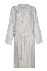 Hooded Unisex Linen Robe with Beige stripe from my little wish