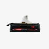 Side View of Sparx Skate Sharpener sharpening a white ice skate
