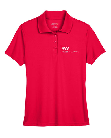 Ladies' Red Performance Pique Polo shirt with Embroidered with KW logo