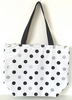 black and silver polka dot
