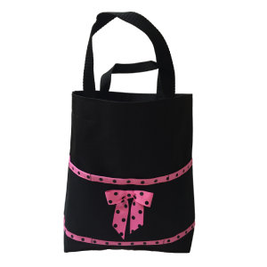 Black & Hot Pink Polka Open Tote