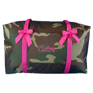 Camo with Hot Pink Large Duffle