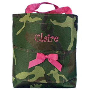 Camo with Hot Pink Open Tote