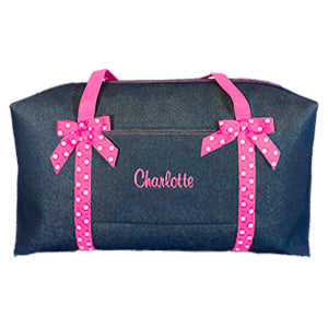 Denim & Hot Pink Large Duffle