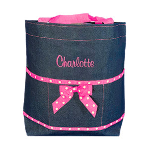 Denim and Hot Pink Open Tote