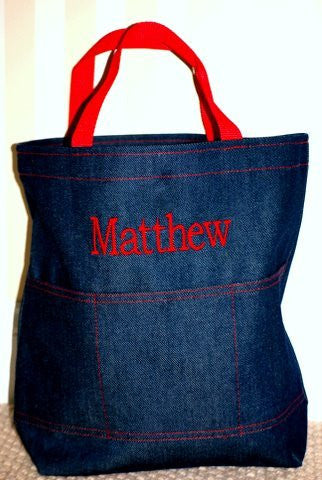 Denim and Red Open Tote