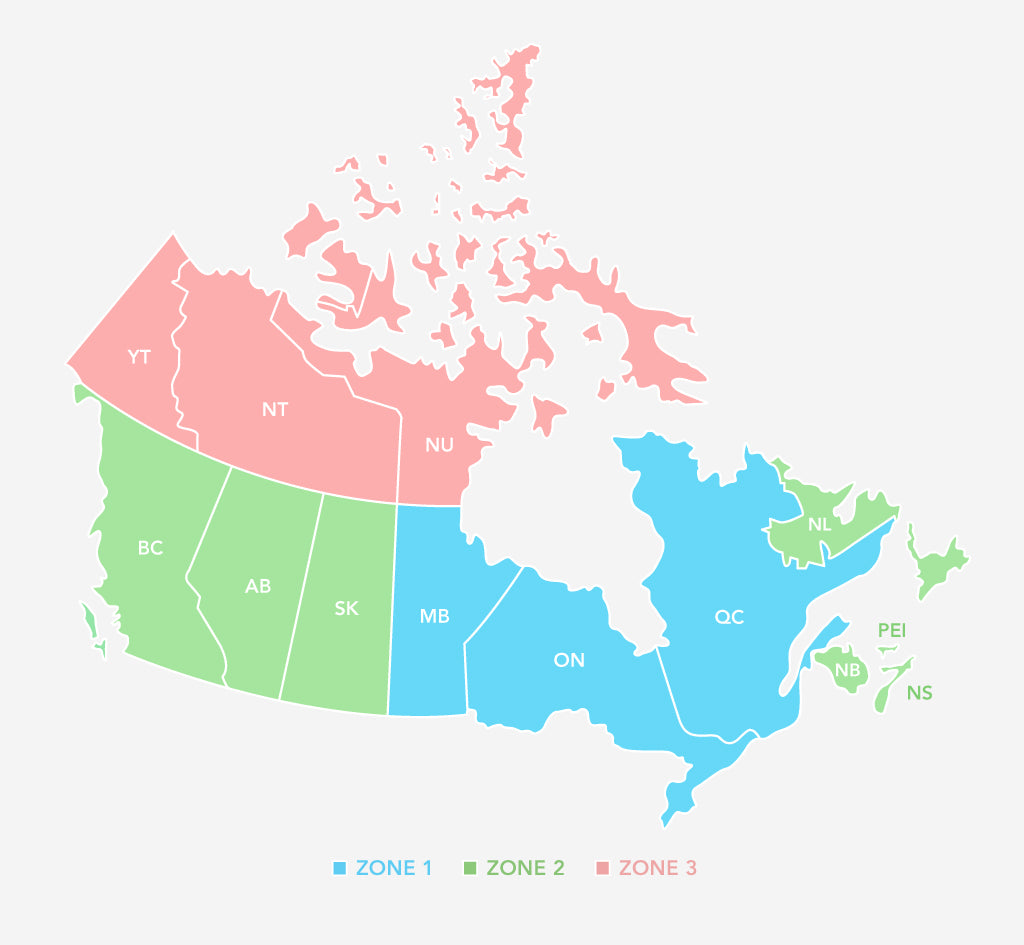 Jenny Bird Canadian Shipping Zones