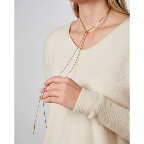 Gold unique chain Paloma Lariat necklace by Jenny Bird