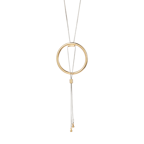 Gold and silver adjustable Sadie Pendant necklace by Jenny Bird.