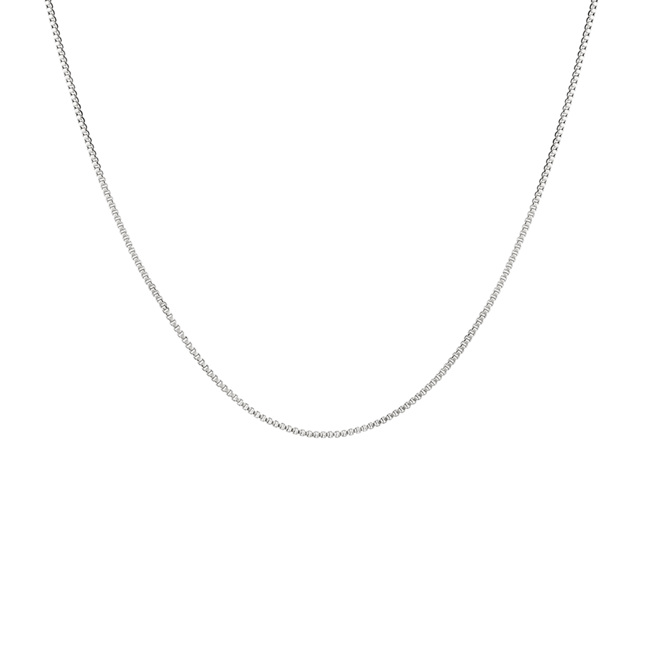Long, thin silver box Corey Chain necklace by JENNY BIRD