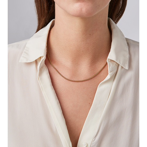 Long gold collar Francis chain Necklace by JENNY BIRD