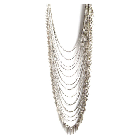 Palm Meris Chain Necklace in Silver by Jenny Bird