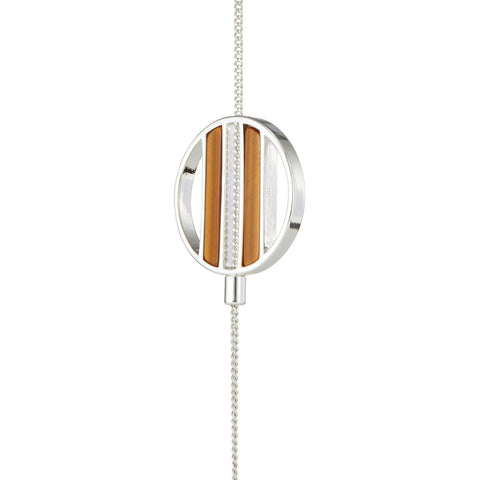 Silver Rhine Lariat by Jenny Bird with Tiger's Eye Stone