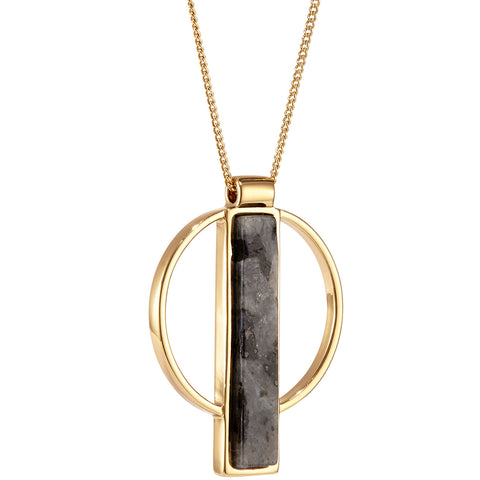 Pollux Pendant by Jenny Bird in Gold with Labradorite Stone