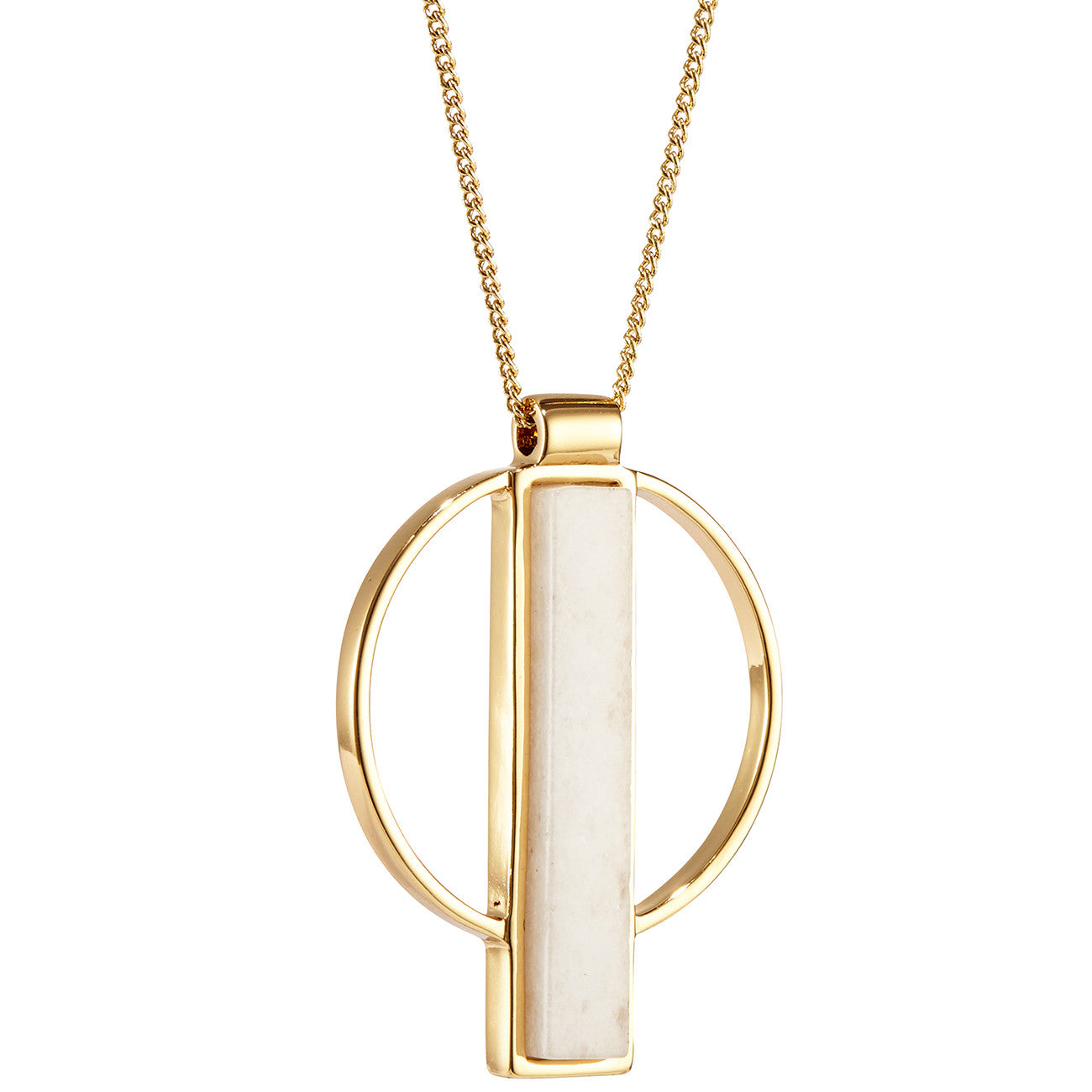 Pollux Pendant by Jenny Bird in Gold with Milky Jade Stone