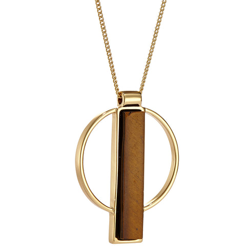 Pollux Pendant by Jenny Bird in Gold with Tiger's Eye Stone