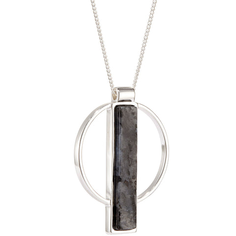 Pollux Pendant by Jenny Bird in Silver with Labradorite Stone
