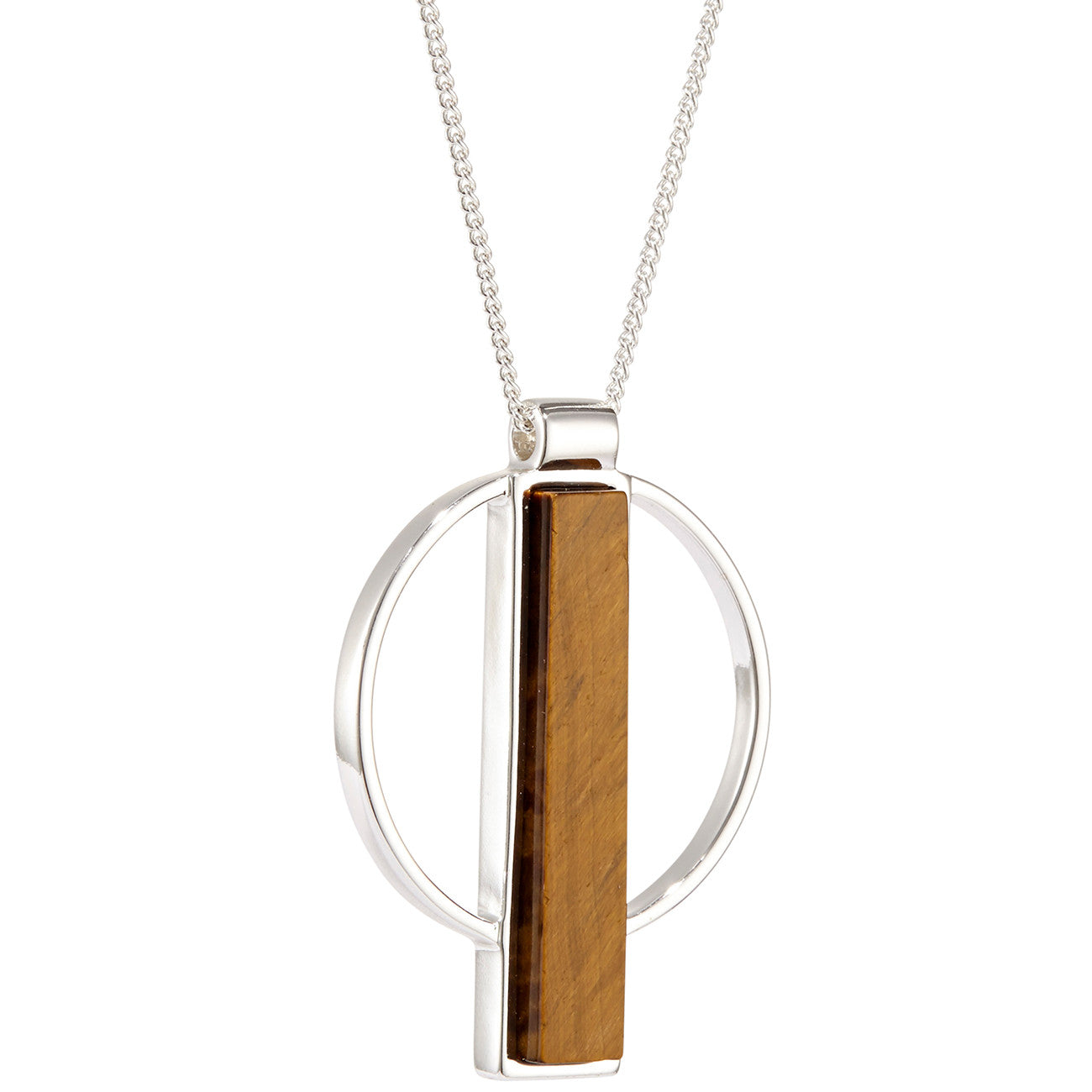 Pollux Pendant by Jenny Bird in Silver with Tiger's Eye Stone