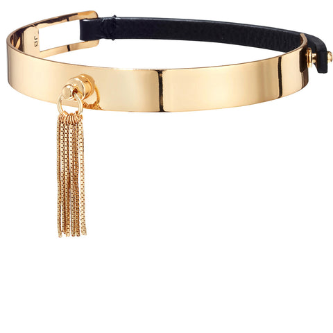 The Muse Choker by Jenny Bird in High Polish Gold with Short Tassel