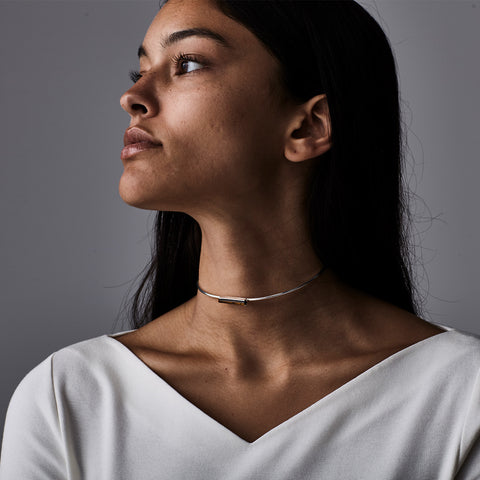 Lewis Choker by Jenny Bird in Silver with Tiger's Eye Stone